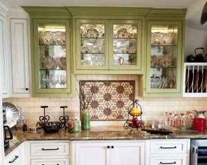 Custom green and glazed cabinet painting project